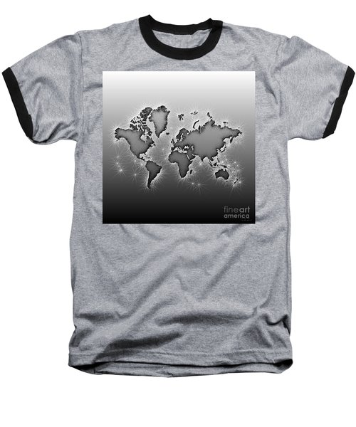 World Map Opala In Black And White Baseball T-Shirt