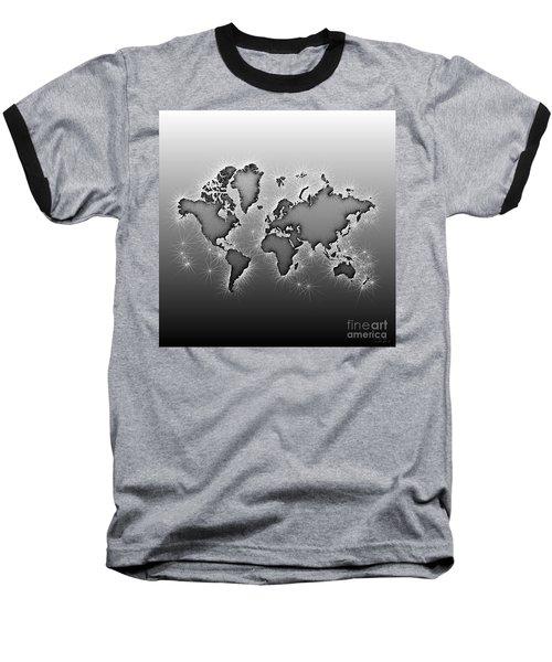 World Map Opala In Black And White Baseball T-Shirt