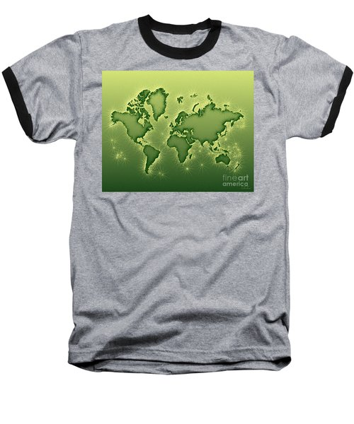 World Map Opala In Green And Yellow Baseball T-Shirt
