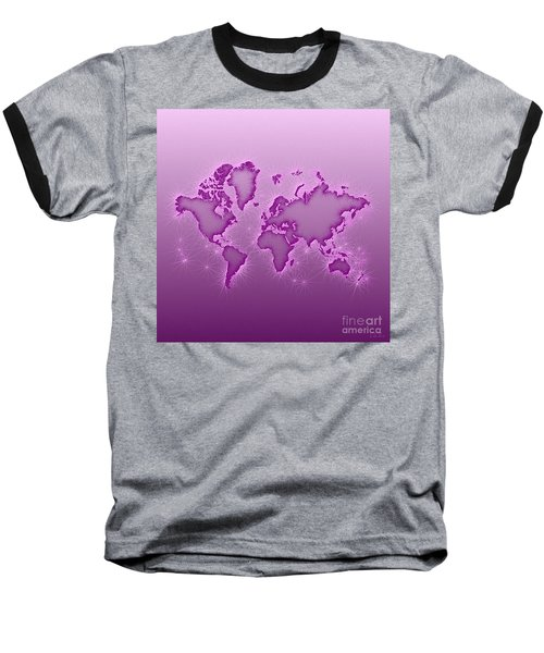 World Map Opala Square In Purple And Pink Baseball T-Shirt