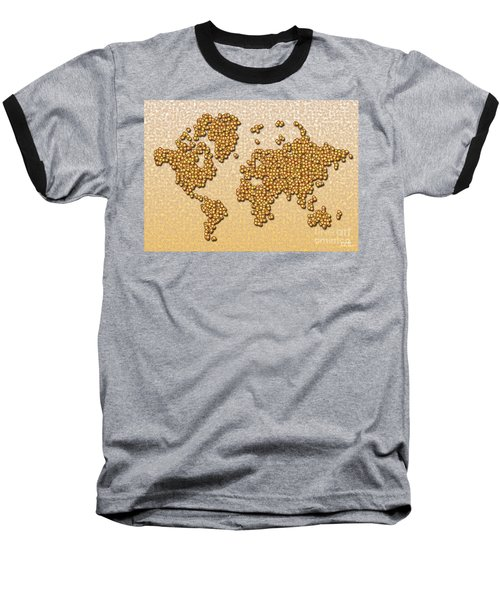 World Map Rolamento In Yellow And Brown Baseball T-Shirt