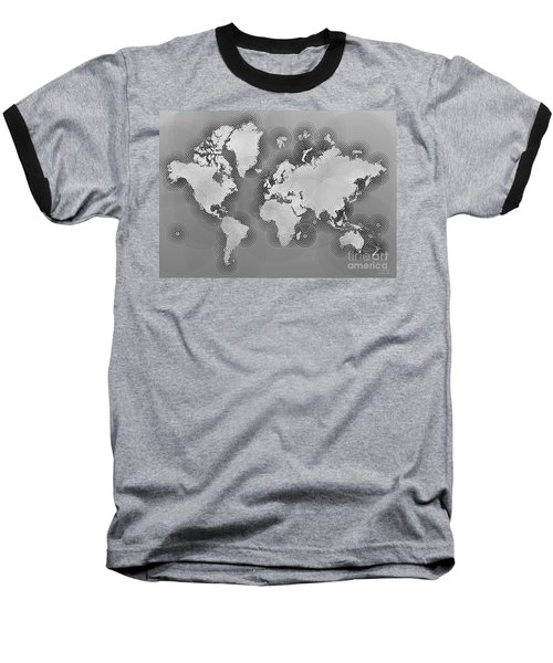 World Map Zona In Black And White Baseball T-Shirt by Eleven Corners