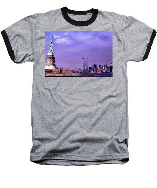 World Trade Center Twin Towers And The Statue Of Liberty  Baseball T-Shirt