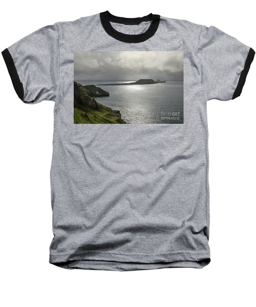 Baseball T-Shirt featuring the photograph Worms Head, Rhossili Bay, South Wales by Perry Rodriguez
