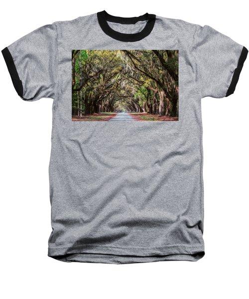 Wormsloe Plantation Oaks Baseball T-Shirt