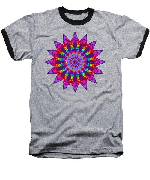 Woven Rainbow Fractal Flower Baseball T-Shirt