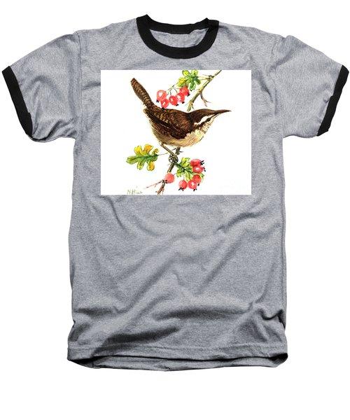 Wren And Rosehips Baseball T-Shirt