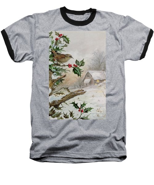 Wren In Hollybush By A Cottage Baseball T-Shirt by Carl Donner