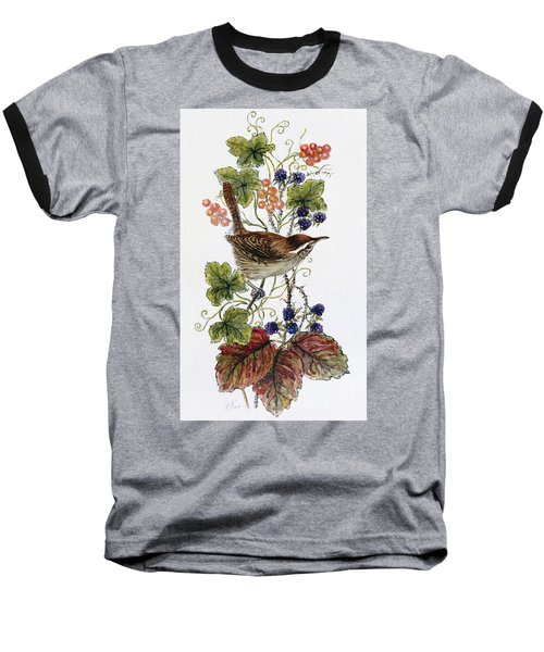 Wren On A Spray Of Berries Baseball T-Shirt by Nell Hill