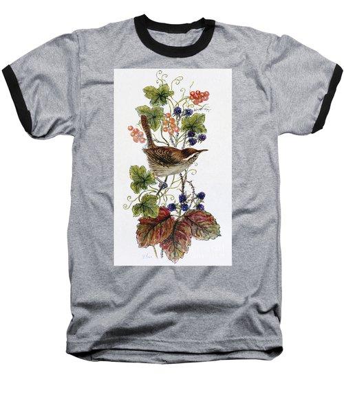Wren On A Spray Of Berries Baseball T-Shirt