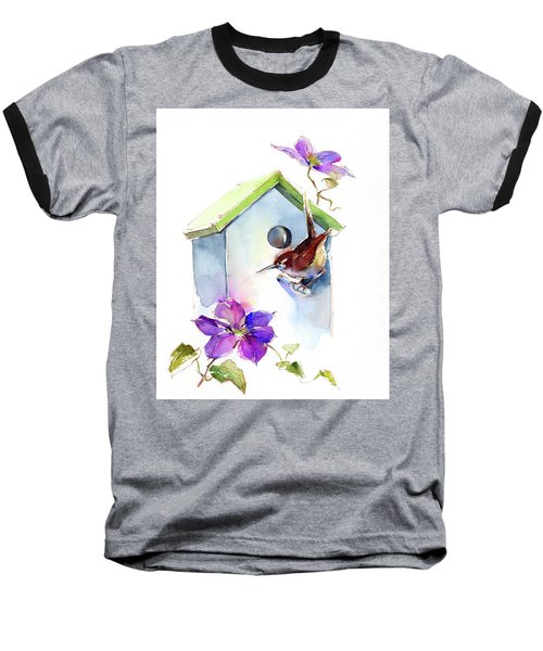 Wren With Birdhouse And Clematis Baseball T-Shirt