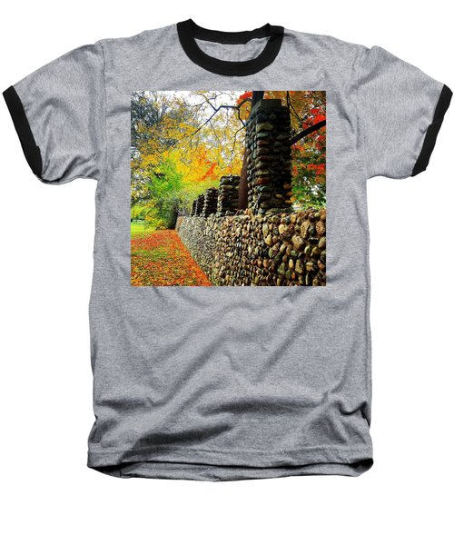 Wright Park Stone Wall In Fall Baseball T-Shirt
