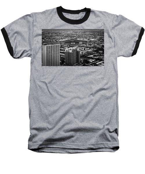 Wrigley Field Park Place Towers Day Bw Dsc4575 Baseball T-Shirt by Raymond Kunst