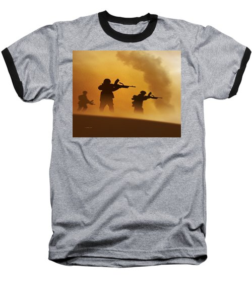 Ww2 British Soldiers On The Attack Baseball T-Shirt by John Wills