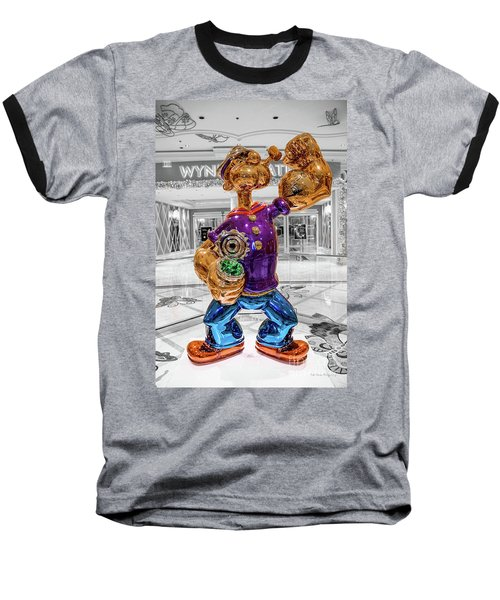 Wynn Popeye Statue Black White And Color By Jeff Koons Baseball T-Shirt