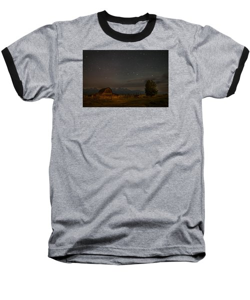 Baseball T-Shirt featuring the photograph Wyoming Countryside At Night by Serge Skiba