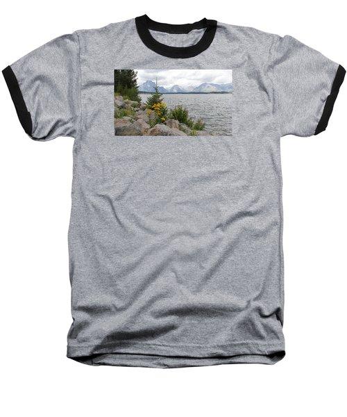 Wyoming Mountains Baseball T-Shirt by Diane Bohna