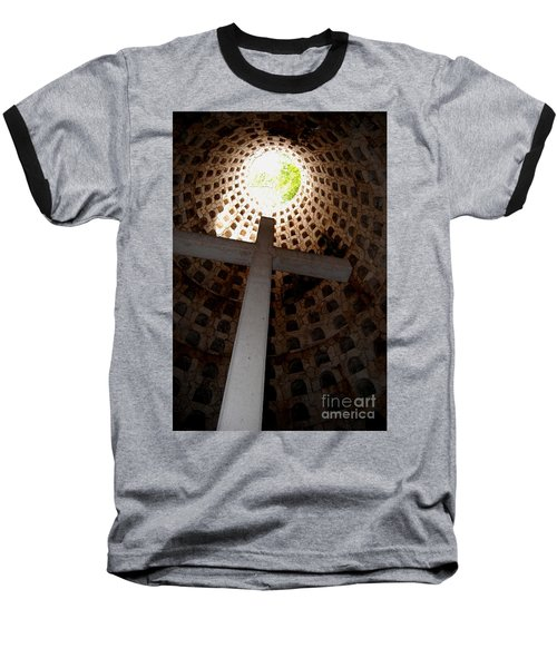 Xcaret Cemetery Catacomb Baseball T-Shirt by Angela Murray