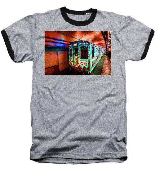 Xmas Subway Train Baseball T-Shirt