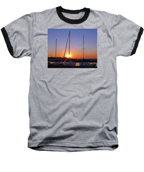 Baseball T-Shirt featuring the photograph Yacht Club Sunrise by Judy Vincent