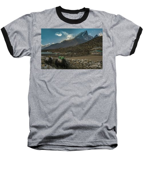 Baseball T-Shirt featuring the photograph Yaks Moving Through Dingboche by Mike Reid