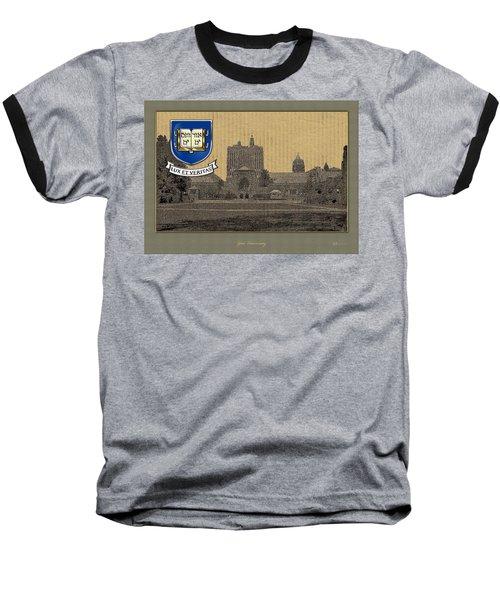 Yale University Building With Crest Baseball T-Shirt