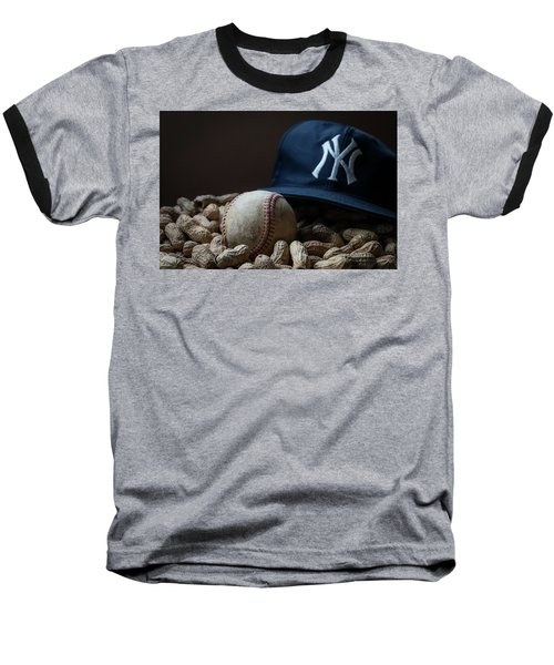 Baseball T-Shirt featuring the photograph Yankee Cap Baseball And Peanuts by Terry DeLuco