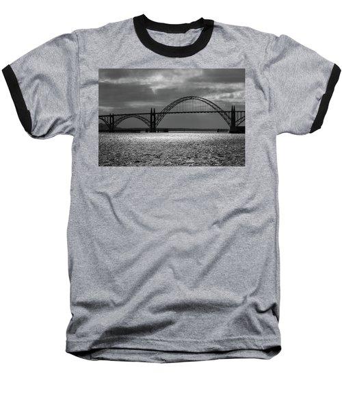 Yaquina Bay Bridge Black And White Baseball T-Shirt by James Eddy
