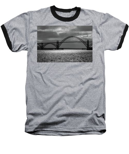 Yaquina Bay Bridge Black And White Baseball T-Shirt