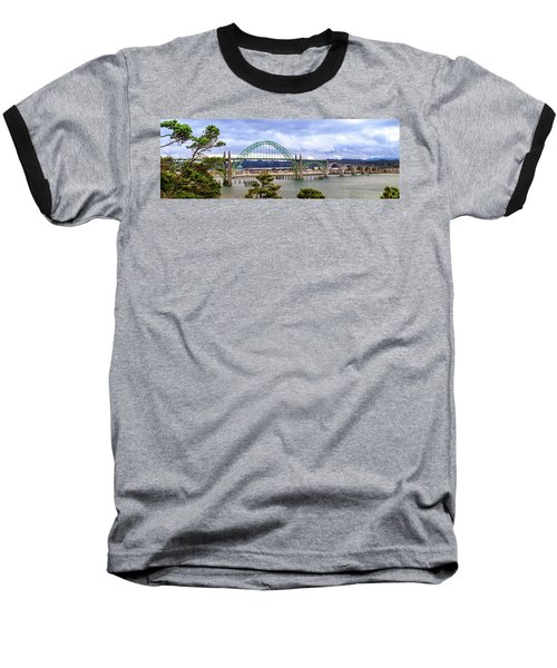 Yaquina Bay Bridge Panorama Baseball T-Shirt