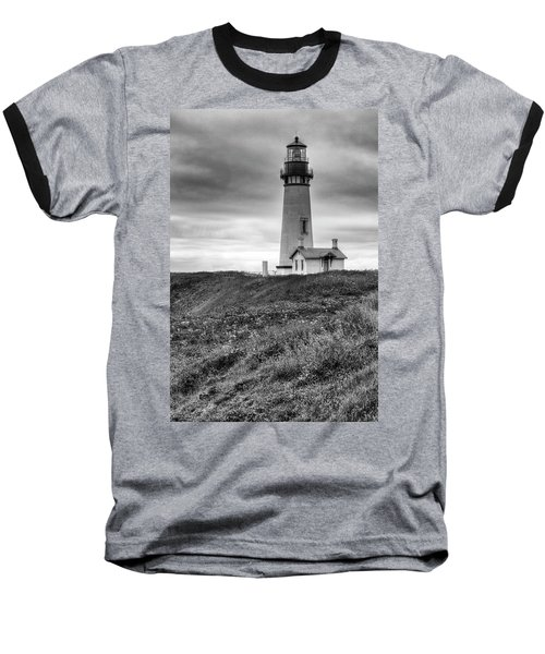 Yaquina Head Lighthouse - Monochrome Baseball T-Shirt