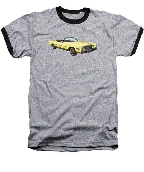 Yellow 1975 Cadillac Eldorado Convertible Baseball T-Shirt