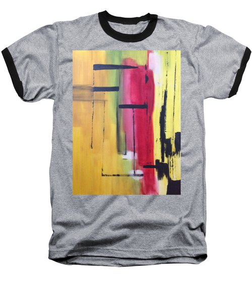 Yellow Abstract Baseball T-Shirt