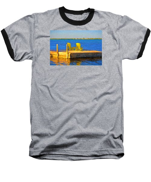 Yellow Adirondack Chairs On Dock In Florida Keys Baseball T-Shirt