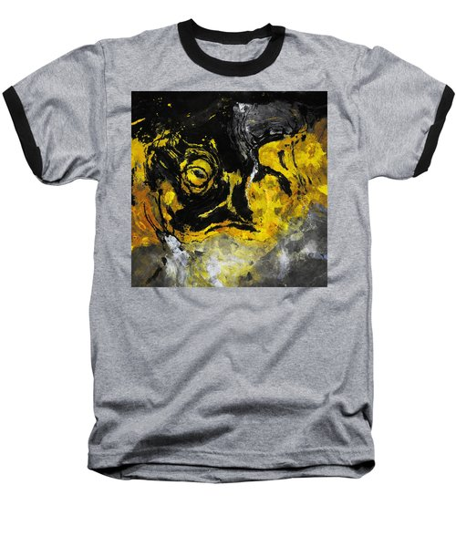 Yellow And Black Abstract Art Baseball T-Shirt by Ayse Deniz