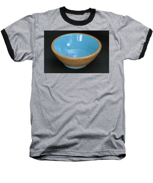 Yellow And Blue Ceramic Bowl Baseball T-Shirt by Suzanne Gaff