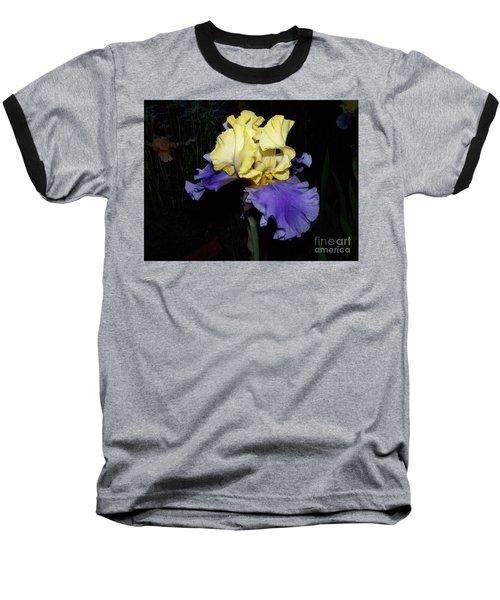 Yellow And Blue Iris Baseball T-Shirt by Kathy McClure
