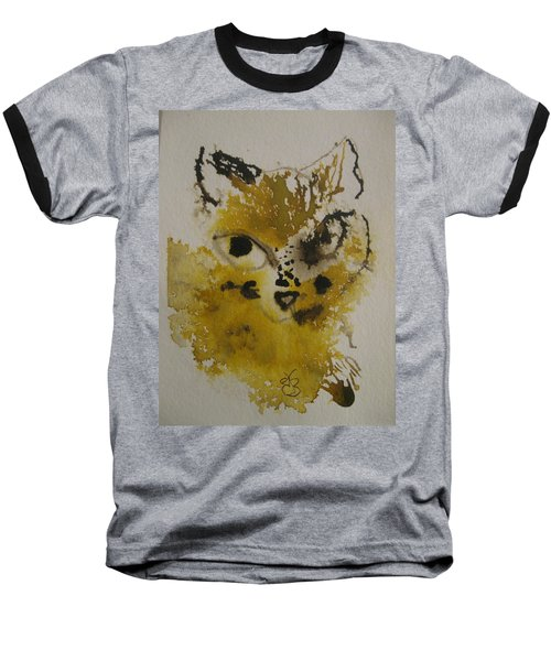 Yellow And Brown Cat Baseball T-Shirt by AJ Brown