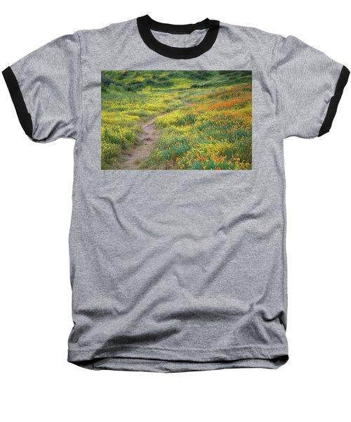 Yellow And Orange Wildflowers Along Trail Near Diamond Lake Baseball T-Shirt by Jetson Nguyen