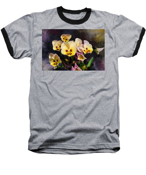 Yellow And Pink Pansies Baseball T-Shirt