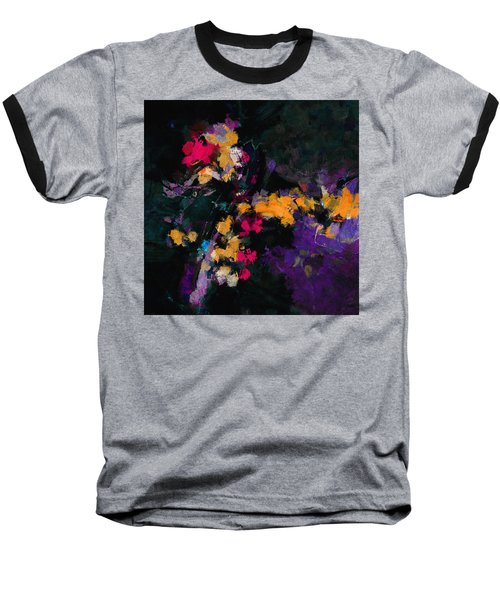 Yellow And Purple Abstract / Modern Painting Baseball T-Shirt by Ayse Deniz