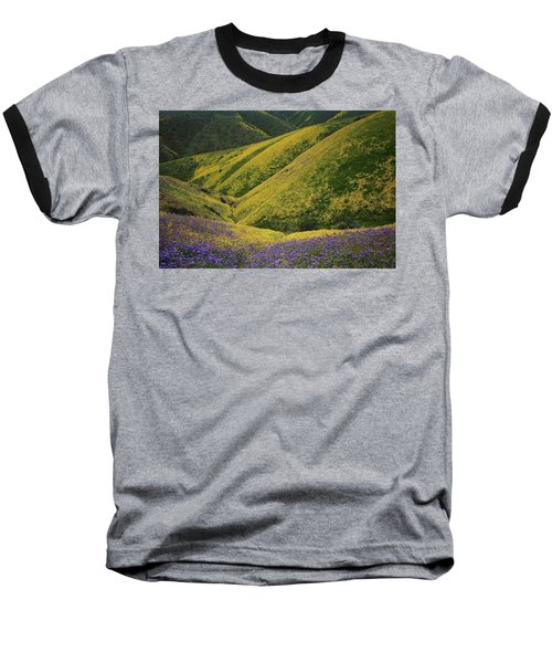 Yellow And Purple Wildlflowers Adourn The Temblor Range At Carrizo Plain National Monument Baseball T-Shirt by Jetson Nguyen