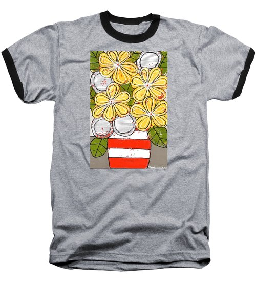 Yellow And White Flowers Baseball T-Shirt