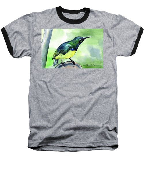 Baseball T-Shirt featuring the painting Yellow Bellied Sunbird by Dora Hathazi Mendes