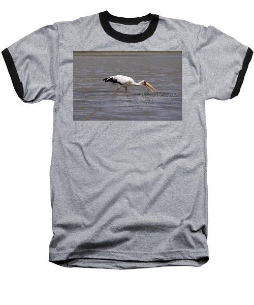 Yellow Billed Stork Wading In The Shallows Baseball T-Shirt by Aidan Moran