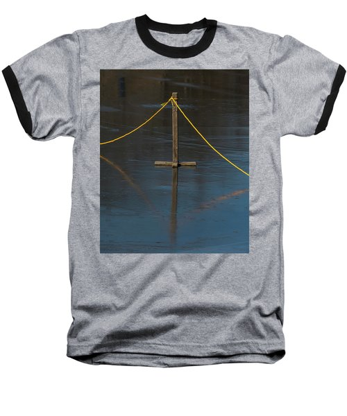 Baseball T-Shirt featuring the photograph Yellow Boundary On Ice by Gary Slawsky