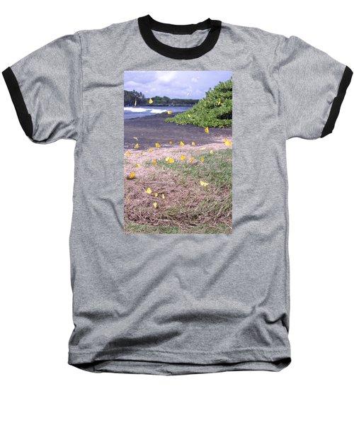 Yellow Butterflies At The Beach Baseball T-Shirt
