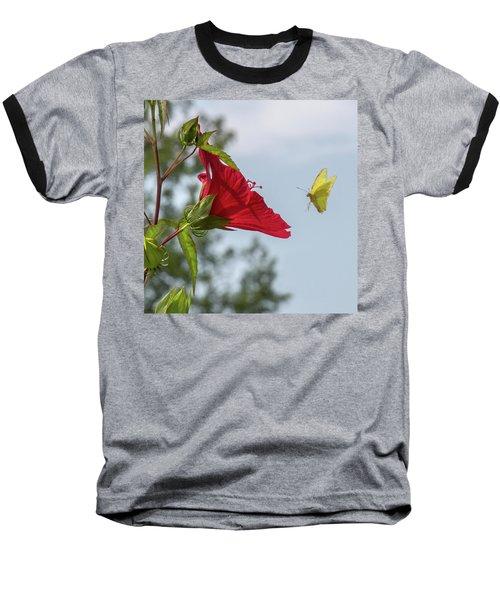 Yellow Butterfly Art Baseball T-Shirt