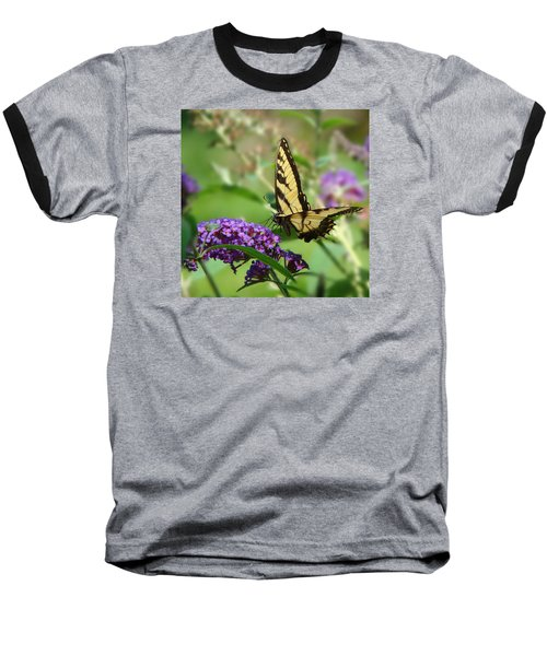 Yellow Butterfly On Purple Baseball T-Shirt