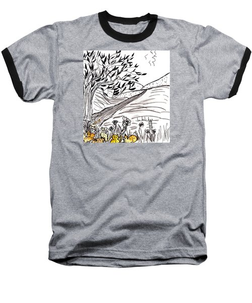 Baseball T-Shirt featuring the painting Yellow Cats by Lou Belcher